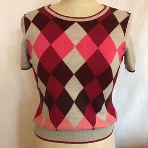 Brooks Brothers S/M argyle short sl merino sweater
